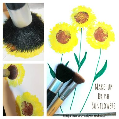 Painting sunflowers with make-up brushes. Summer and fall arts and crafts for kids.