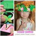 Moana inspired paper plate flower crown. Kid's arts and craft. Construction paper headpiece for dress up and pretend play.