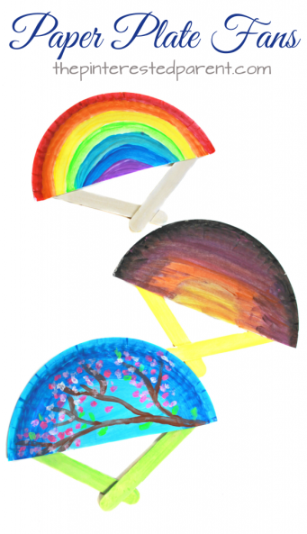 Paper plate fans for the spring and summer. These hand fans are a simple arts and craft project that is perfect for toddlers, preschoolers and kids of all ages.