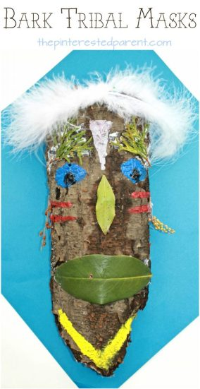 Bark tribal mask craft for kids. Painted nature arts ans crafts.