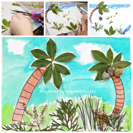 Nature art landscapes. Use nature and watercolors, markers or crayons to create a fun piece of art for the kids.