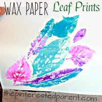 Wax Paper Leaf Prints