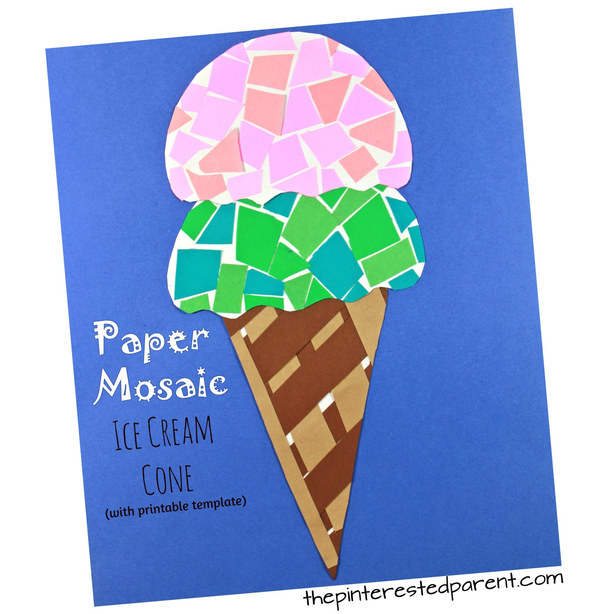 Printable Paper Mosaic Ice Cream Cone The Pinterested Parent