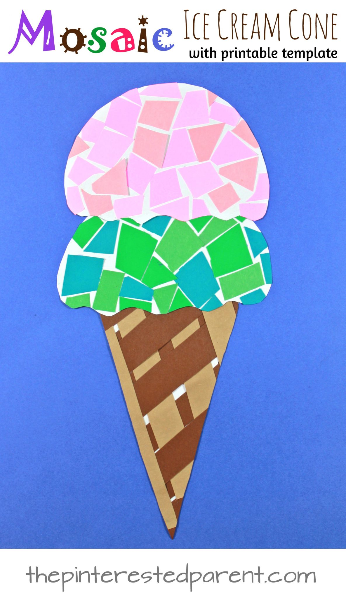 image regarding Ice Cream Template Printable called Printable Paper Mosaic Ice Product Cone The Pinterested Mum or dad