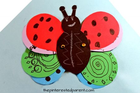 Transform a ladybug into a butterfly using a free printable template. Design the wings and transform in this fun kid's craft. Construction paper Arts and crafts for preschoolers and kids