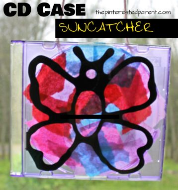 Turn an old CD case into something fun. CD Case artwork for kids. Make suncatchers or beautiful nature art with black glue. Arts and crafts with recyclables for kids.