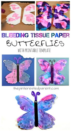 Bleeding tissue paper butterflies with a free printable template. Paint with tissue paper. Kid's spring and summer arts and crafts