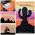 Watercolor silhouette landscape paintings for kids with free printable templates - cactus, mountains, sailboat sunset scenes. Kid's arts and crafts