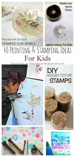 40 printmaking and stamping ideas for kids. Kids process art and painting. Nature, recyclables and other materials