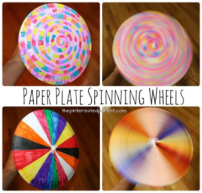 Paper plate psychedelic spinning wheel. Simple and colorful arts and craft for kids