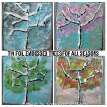 Tin foil embossed painted trees for all seasons. Make winter, spring, summer and fall trees using nature, aluminum foil and paint. Arts and crafts for kids