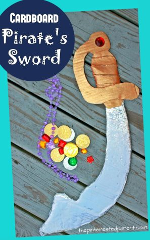 Cardboard pirate's sword for pretend play or costume. Use recyclables to make this cool pirate's sword for the kids