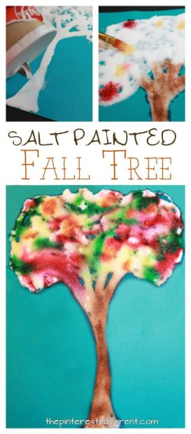 Salt painted fall tree. Watercolor and salt paintings. This is a cool process that the kids will love. Arts and crafts for kids