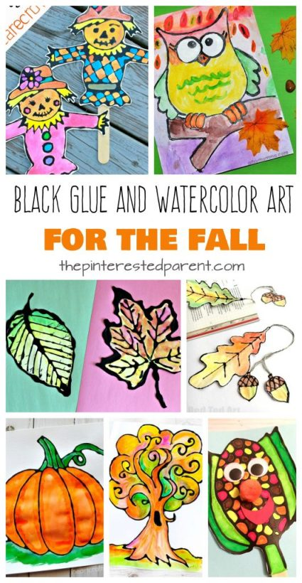 Beautiful black glue and watercolor art projects for the fall. Autumn arts and crafts for kids. Watercolor Black Glue Fall Art