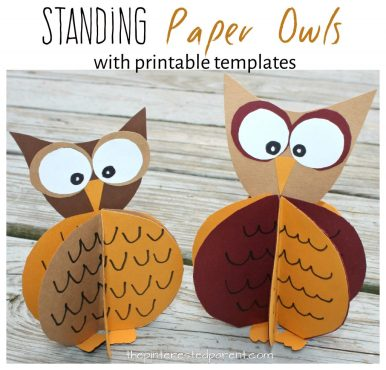 Construction paper standing owl craft with free printable template. Fall arts and crafts for kids