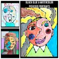 Black glue and watercolors Picasso inspired portraits - famous artists arts and crafts painting projects for kids