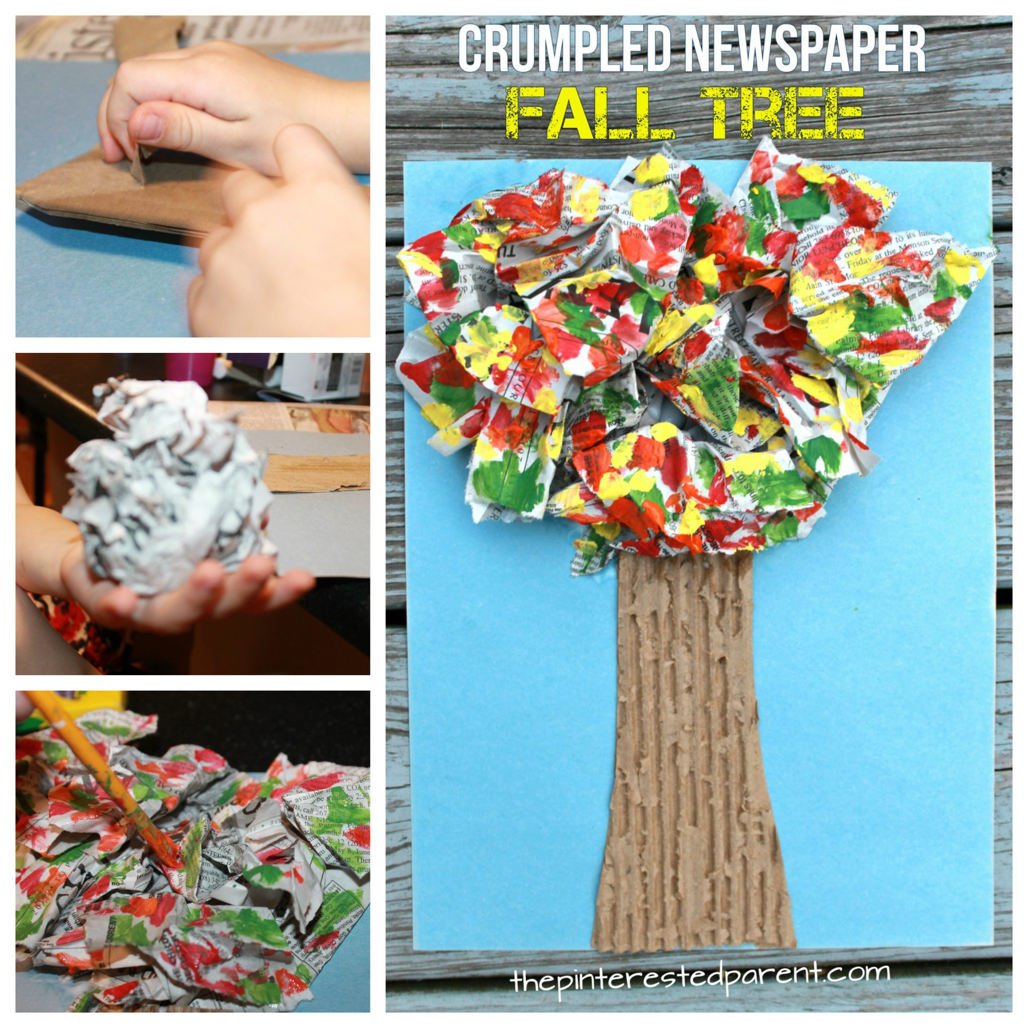 Crumpled Newspaper Fall Tree Craft For Kids Autumn Arts And Crafts Mixed Media