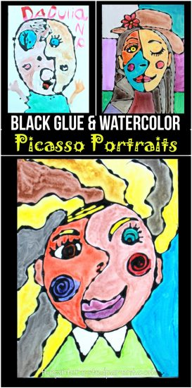 Black glue and watercolors Picasso inspired portraits - famous artists arts and crafts painting projects for kids - abstract art