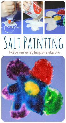 Watercolor and salt paintings. This is a cool process that the kids will love. Arts and crafts for kids