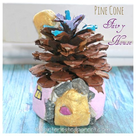 Slat dough and pine cone fairy house. Magical nature arts and crafts for kids