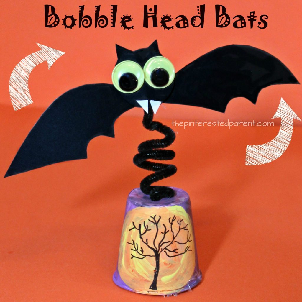 Bobble Head Bat - watch it wobble and fly. Halloween arts and crafts for kids