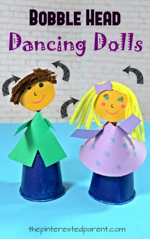 Dancing Dixie Cup Bobble Head Dolls with printable template. Fun arts and crafts for kids