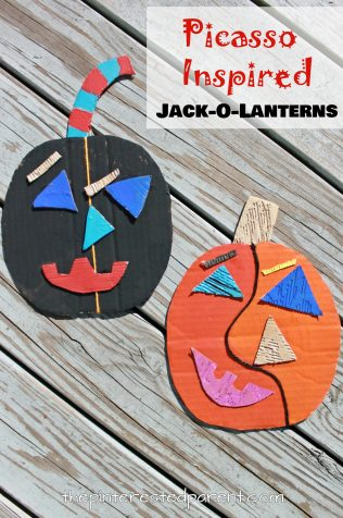 Picasso Inspired Jack-o-lantern craft. See all of our artist inspired pumpkin ideas. Fall and Halloween crafts for kids.