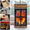 Pretty Paper Bag Fall Tree Luminary - Autumn arts and crafts for kids.