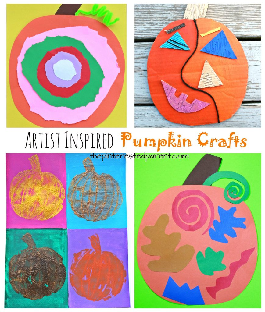 Artist inspired pumpkin and jack-o-lantern crafts - See all of our artist inspired pumpkin ideas. Fall and Halloween crafts for kids. Picasso, Matisse, Warhol, and Kandinsky