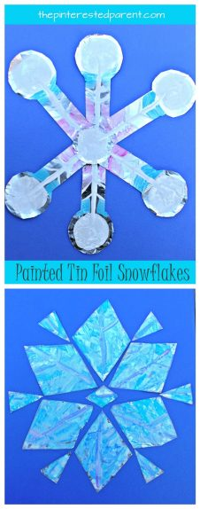 Painted tin foil snowflakes - Winter arts and crafts for kids