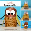 Paper roll spinning owl craft - Use a recycled paper towel or toilet paper roll to make these adorable spinners. Arts and crafts for kids. with recyclables.