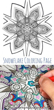 Printable snowflake coloring page - winter coloring for kids or adults