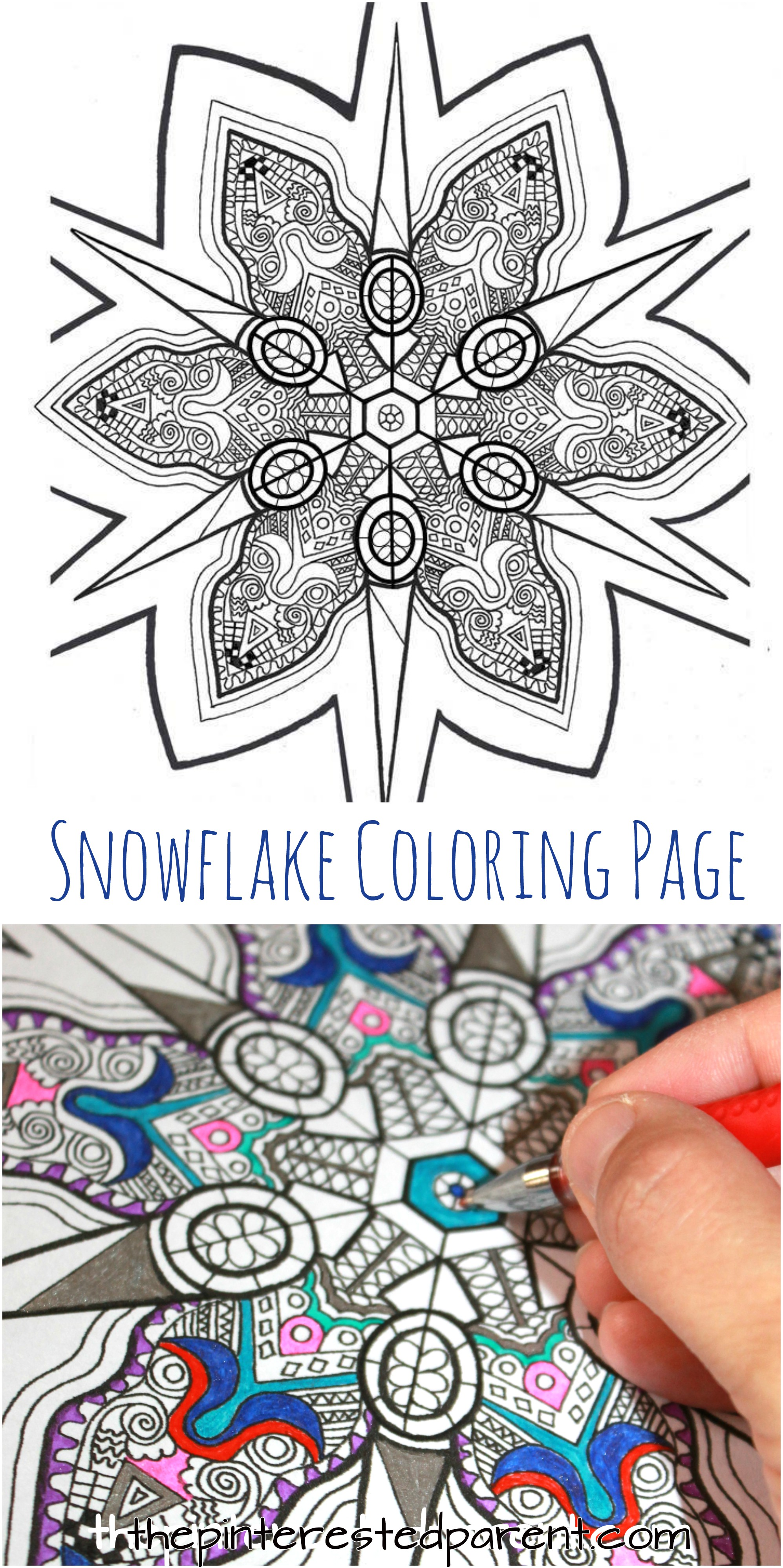 Printable Snowflake Coloring Page – The Pinterested Parent
