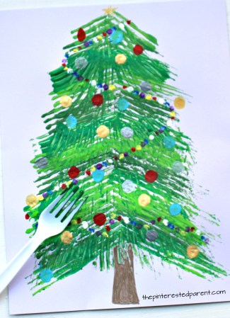 Fork Painted Christmas Tree The Pinterested Parent