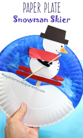 Paper plate snowman skier. Interactive arts and crafts project for the kids for the winter.