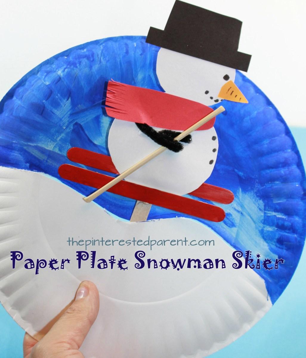Paper Plate Snowman Skier Craft