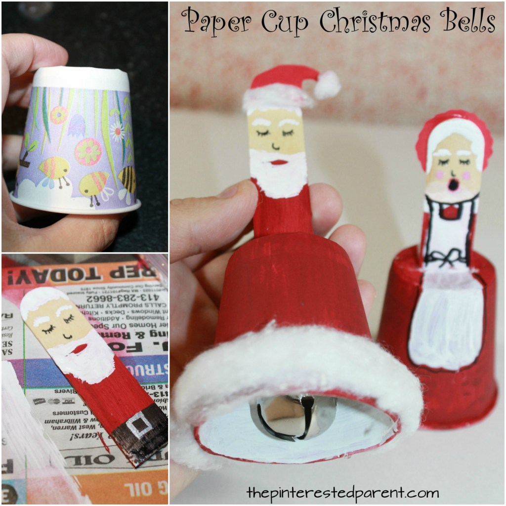Dixie Cup Christmas Bells - Christmas and winter arts and crafts for kids. See out Santa and angel bells