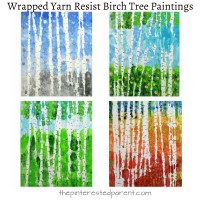 Wrapped Yarn Resist Birch Tree Paintings