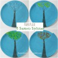 Paper plate four season spinner. Watch the winter, spring, summer and fall trees changing. arts and crafts for kids.