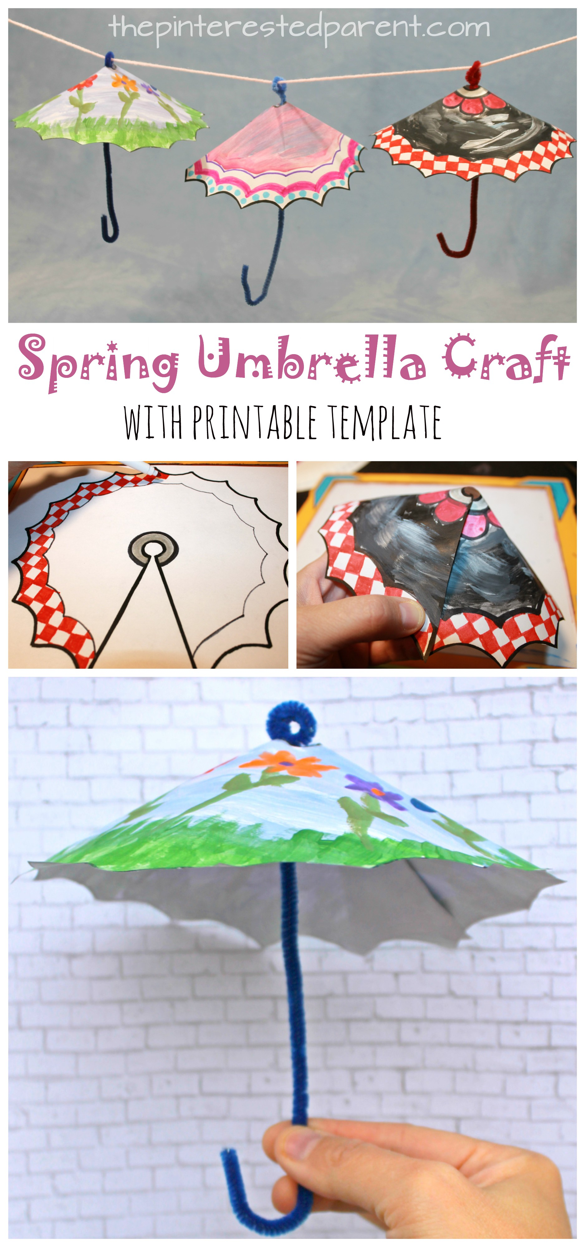 photograph relating to Printable Umbrellas named Spring Umbrella Craft With Printable The Pinterested Dad or mum