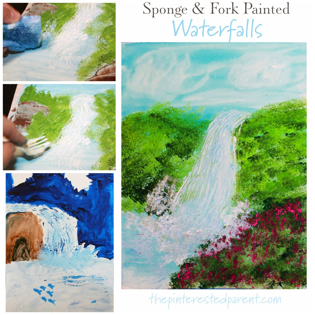 Sponge and fork painted waterfalls. This beautiful paint project is great for kids and adults. Arts and crafts