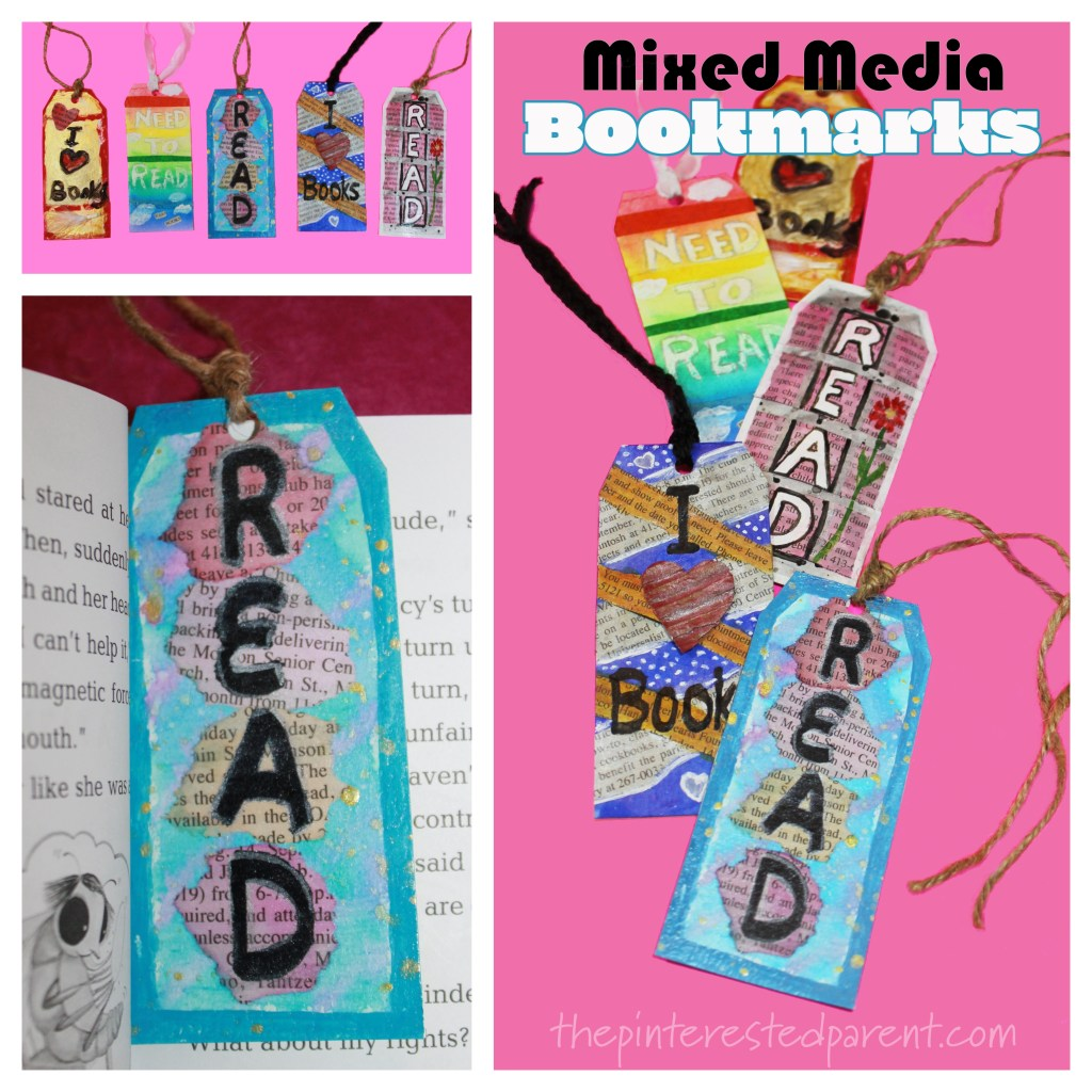 Mixed Media Bookmarks for kids sponsored by Reading Eggs. Arts and crafts for young readers and book lovers.