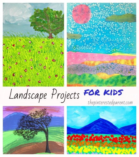 Beautiful Landscape Projects for Kids - #painting #watercolors #landscape #art #kids #paper #techniques #crafts