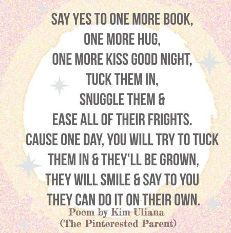Say yes to one more book, one more hug, one more kiss goodnight poem by Kim Uliana The Pinterested Parent