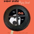 Paper Plate Flying Ghost in a window - Halloween arts and crafts for kids