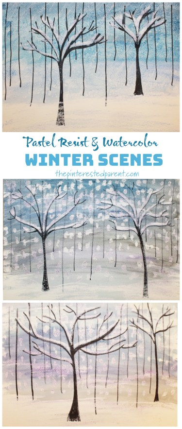 Pastel & Watercolor Winter Scenes – The Pinterested Parent