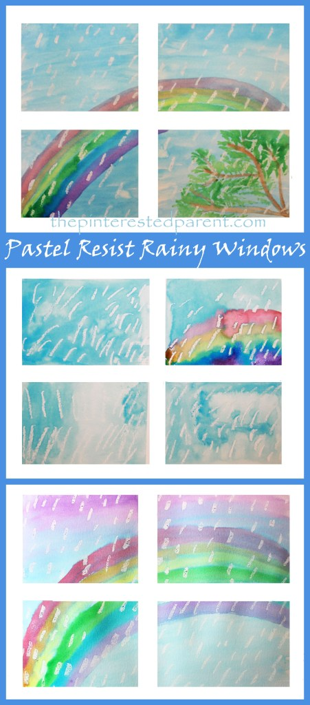 Pastel resist Rainy Windows watercolors painting - easy spring & rainbows arts and crafts projects for kids.