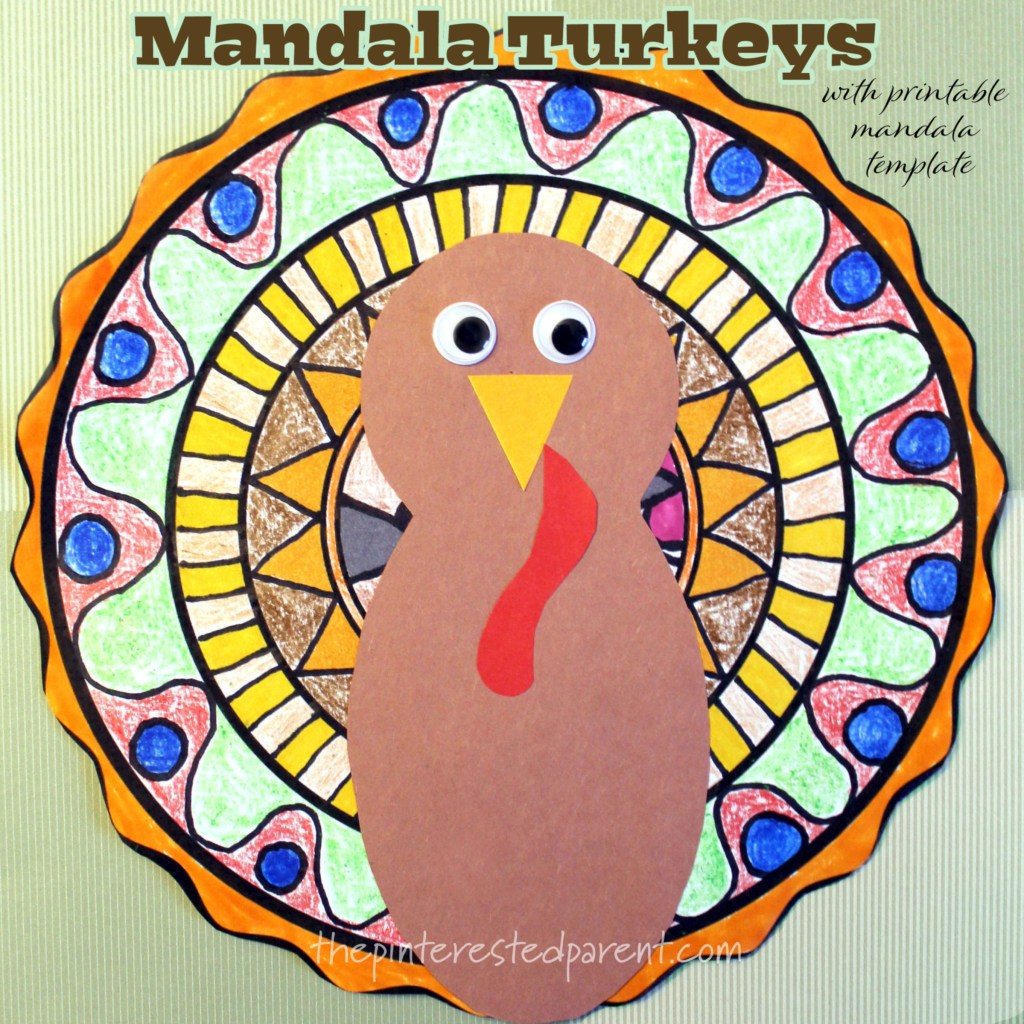 Mandala Turkeys with printable draw-in mandala template. #kids arts & crafts #Thanksgiving #turkey #mandala