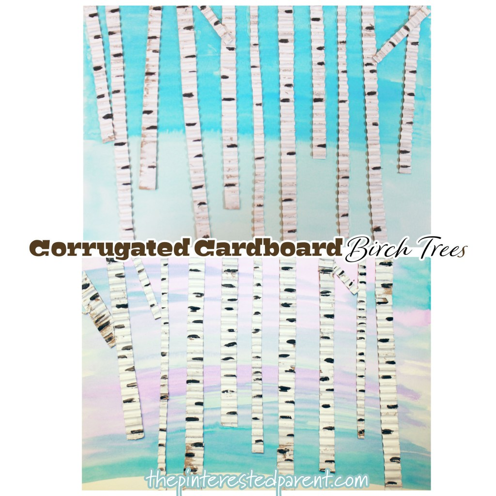 Corrugated Cardboard Birch Trees. Mixed media art for the kids. Winter arts and crafts