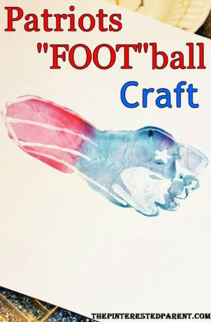 New England Patriots Football foot print craft kid's crafts